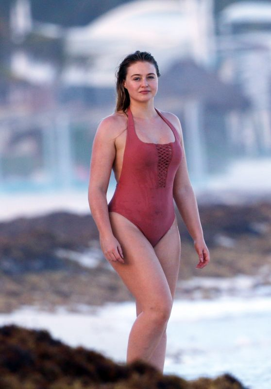 Iskra Lawrence in a one Piece Bathing Suit on the Beach in Tulum