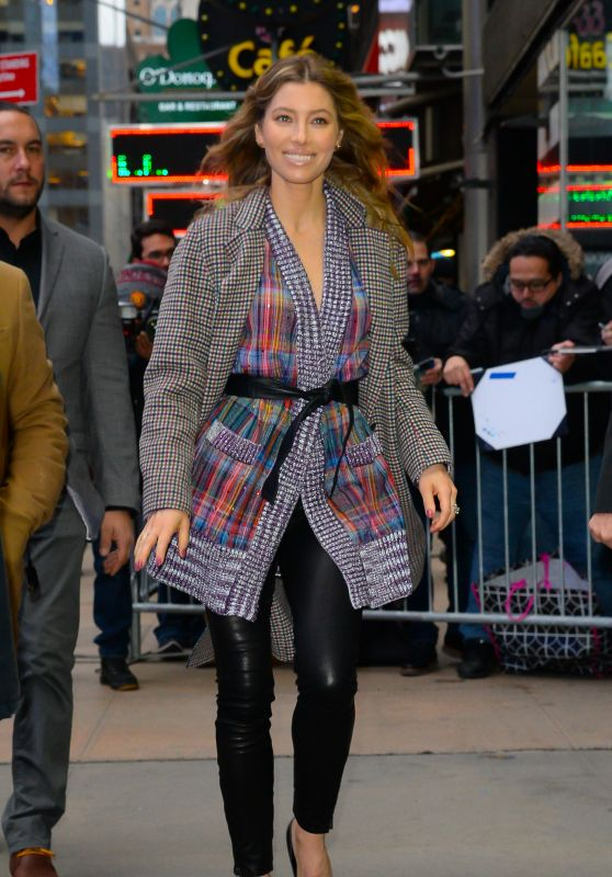 Jessica Biel - Arrives at Good Morning America in NYC 02/12/2018