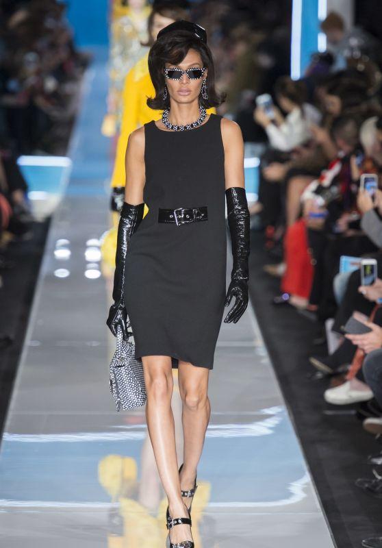 Joan Smalls Walks Moschino Show, Milan Fashion Week 02/21/2018
