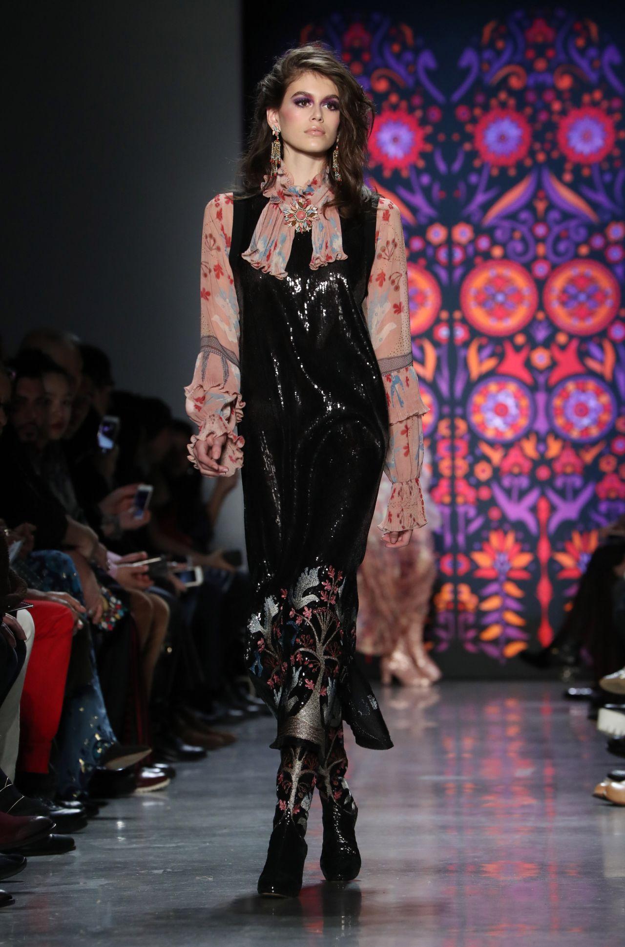 Kaia Gerber Walks Anna Sui Fashion Show In NYC