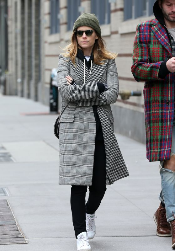Kate Mara in a Plaid Coat Out in New York City, February 2018