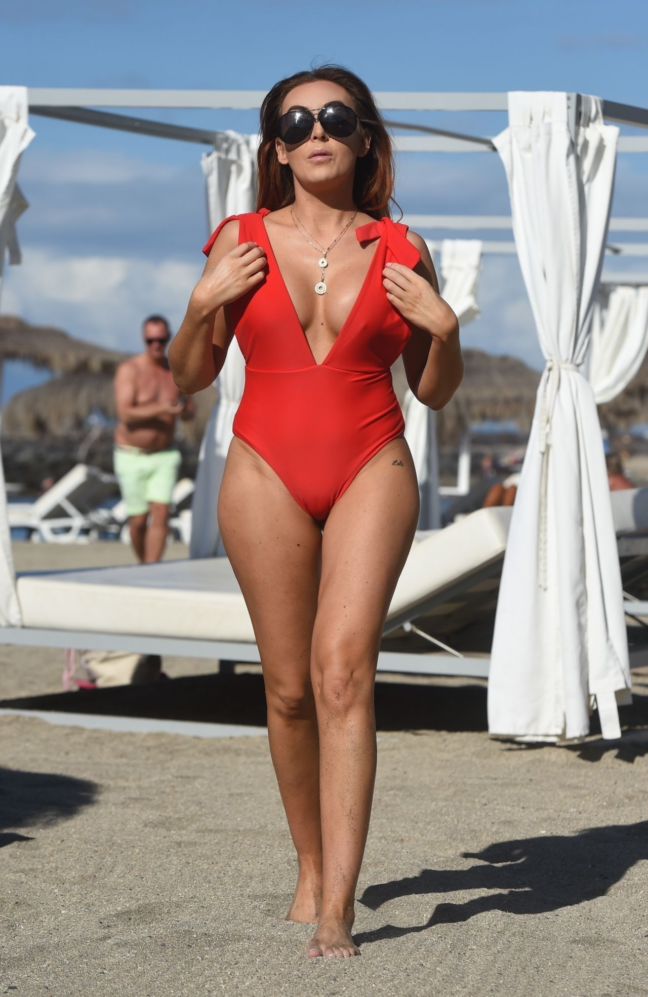 Laura Simpson In A Red Swimsuit On The Beach In The Canary