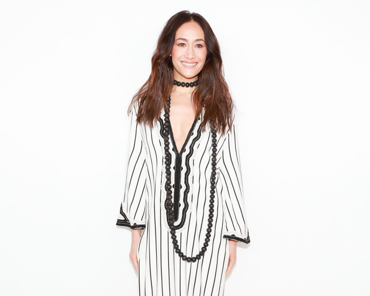 Maggie Q Hairstyle: Tory Burch Fashion Show Fall Winter 2018 In NYC