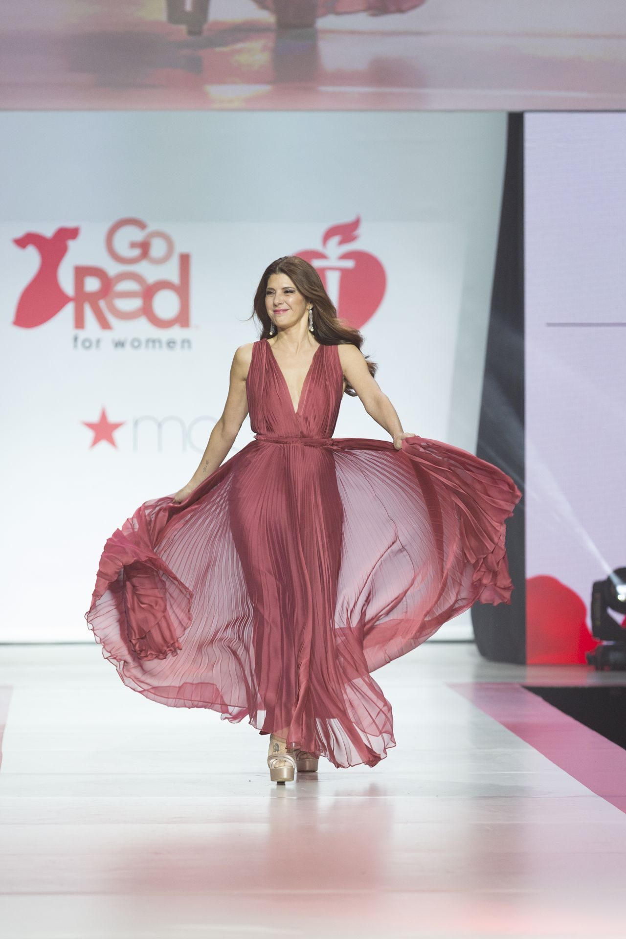 Marisa Tomei Walks Runway For Red Dress 2018 Collection