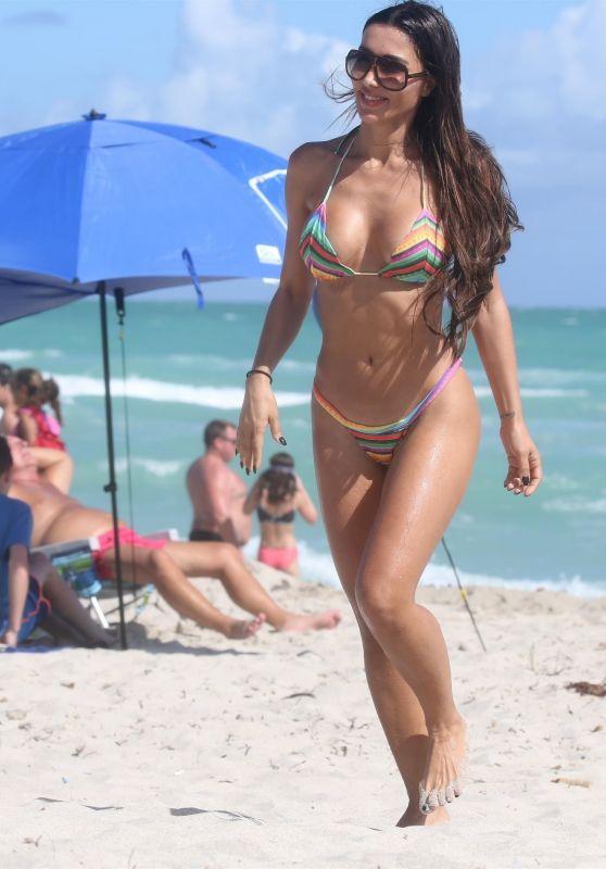 Metisha Schaefer in Bikini on the Beach Miami 02/25/2018