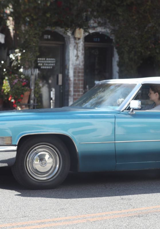 Mischa Barton Drives a Vintage Car in West Hollywood