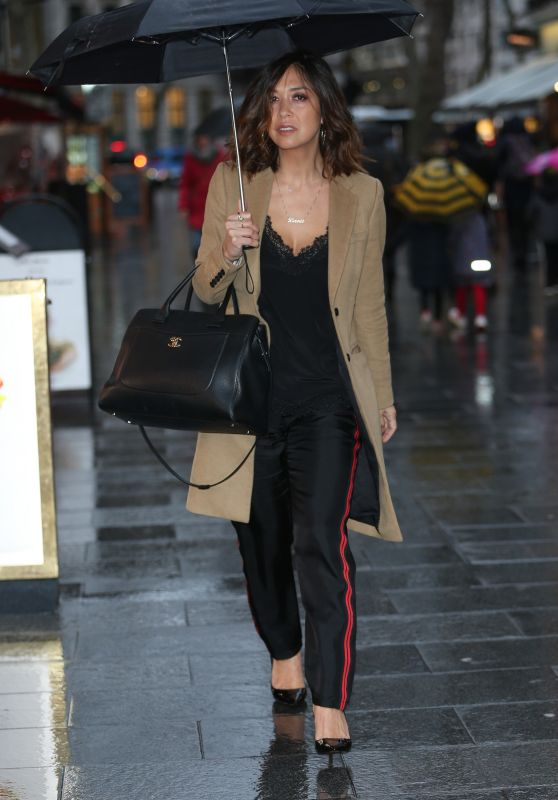 Myleene Klass in Lace Top on Valentines Day at Global Radio in London