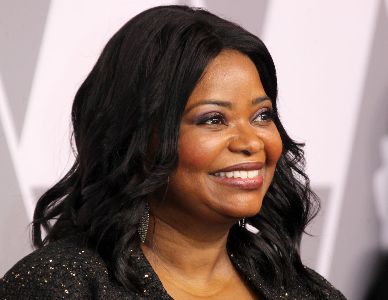 b1d8d2b480d Octavia Spencer Emerald Satin Asymmetrical Off The.  .   Octavia Spencer  Oscars Nominees Luncheon 2018 In Beverly