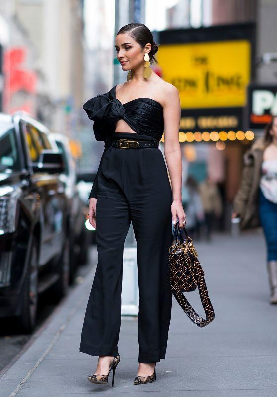 Olivia Culpo Fashion Style - Midtown NYC 02/14/2018