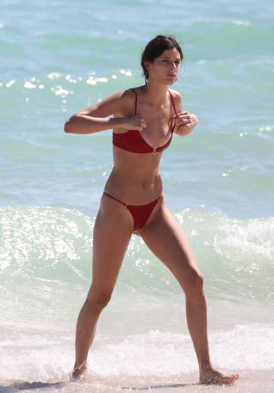 Sadie Newman in a Red Bikini on the Beach in Miami