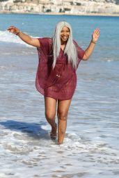 Sandi Bogle in Bikini on the Beach in Benidorm 02/13/2018
