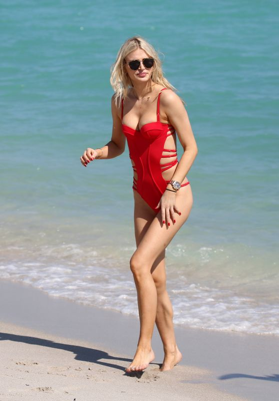 Sofija Milosevic in a Red Bikini - Valentine