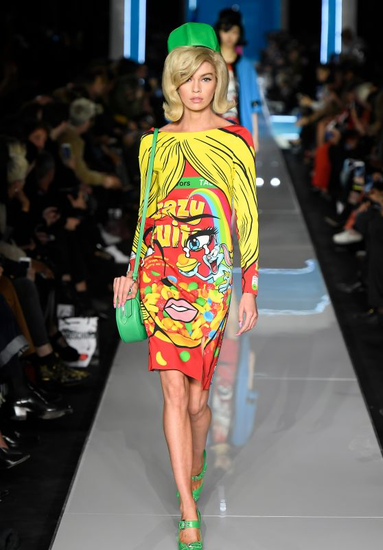Stella Maxwell Walks Moschino Show, Milan Fashion Week 02/21/2018