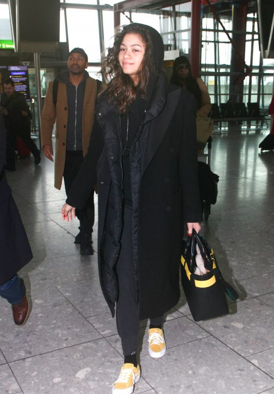 Zendaya Arriving at Heathrow Airport in London 02/19/2018