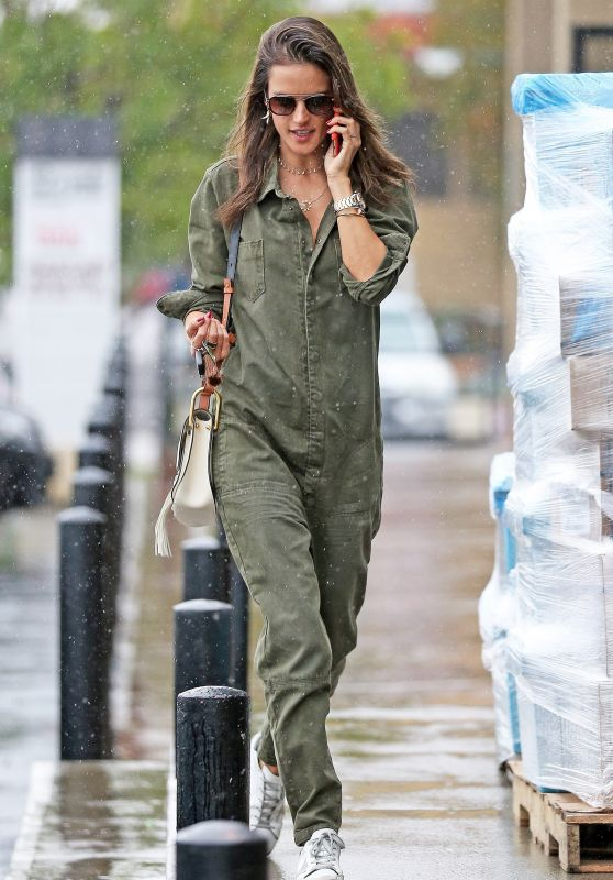 Alessandra Ambrosio in a Green Jumpsuit in Los Angeles 03/21/2018