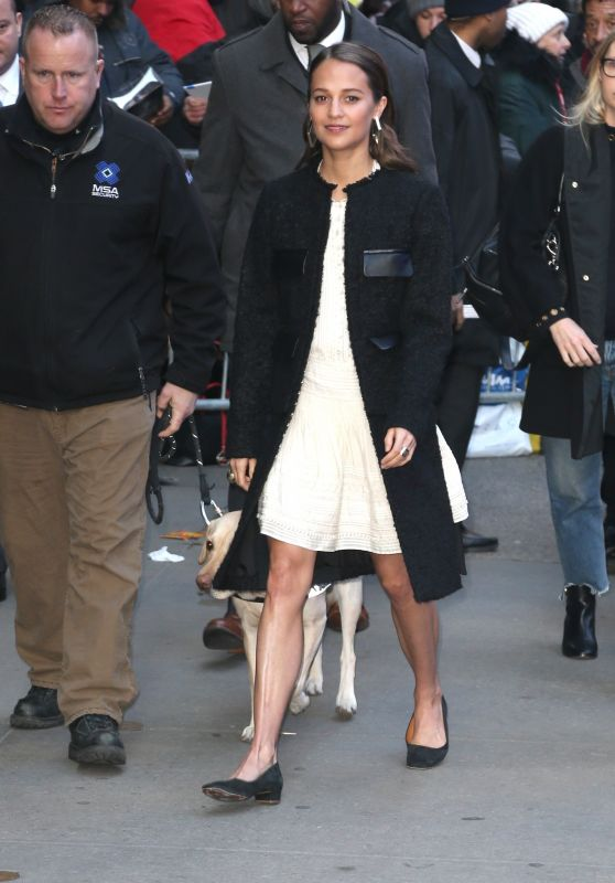 Alicia Vikander Arriving to Appear on Good Morning America in New York City 03/14/2018