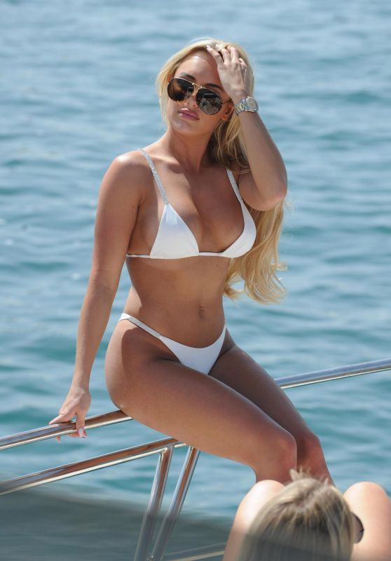 Amber Turner in a White Bikini on Yacht in Dubai 03/16/2018