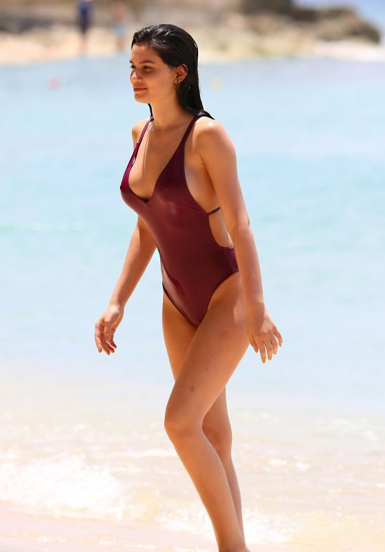 Anne De Paula in Bikini at the Beach in the Caribbean
