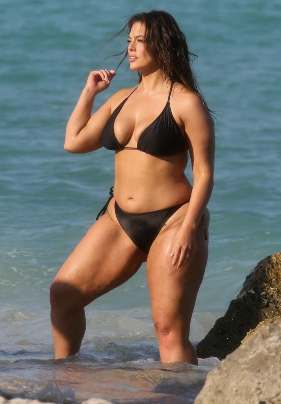 Ashley Graham in a Black Bikini - Photoshoot on the Beach in Miami 03/14/2018