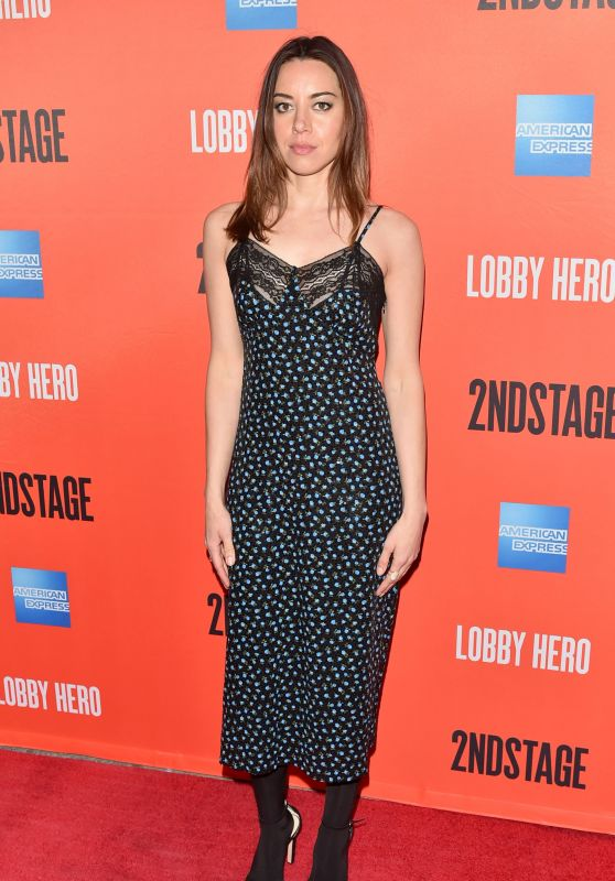 "Aubrey Plaza - ""Lobby Hero"" Broadway Play Opening Night in NYC"