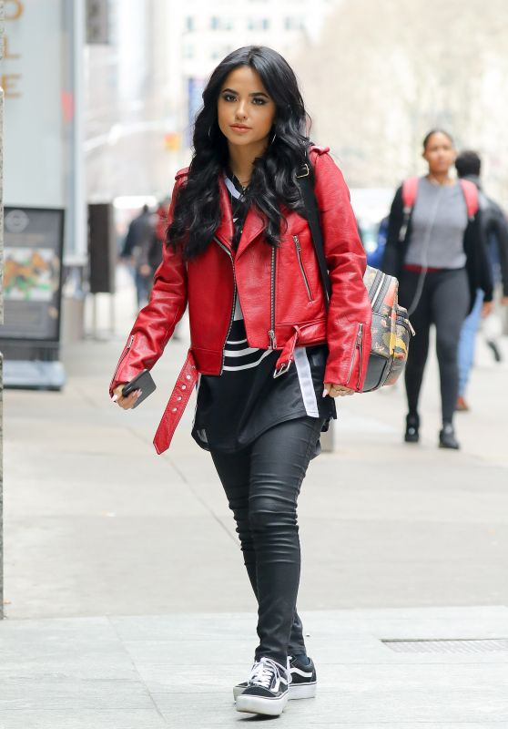 Becky G in a Red Leather Jacket - New York City 03/28/2018
