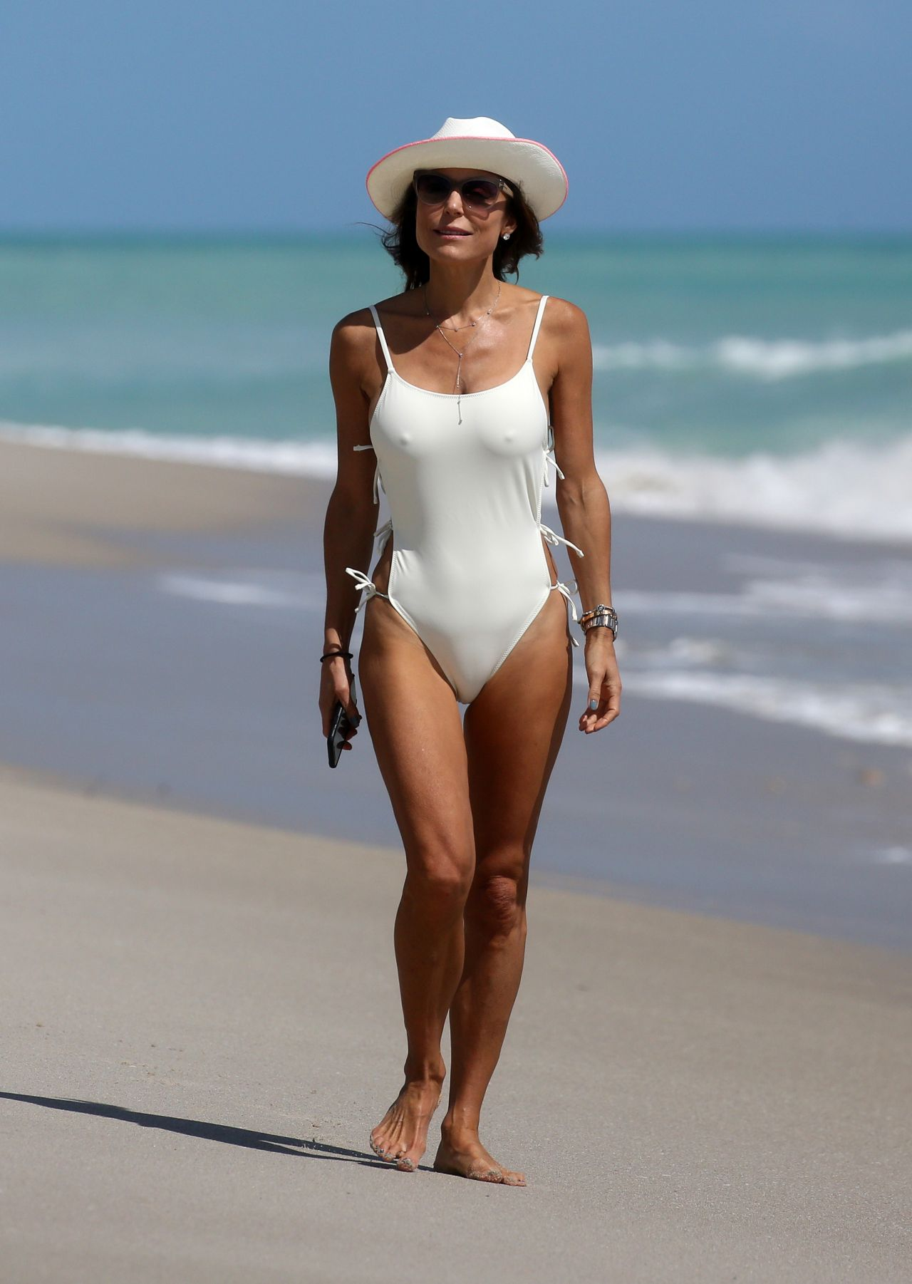 Bethenny Frankel In A White Swimsuit On Miami Beach