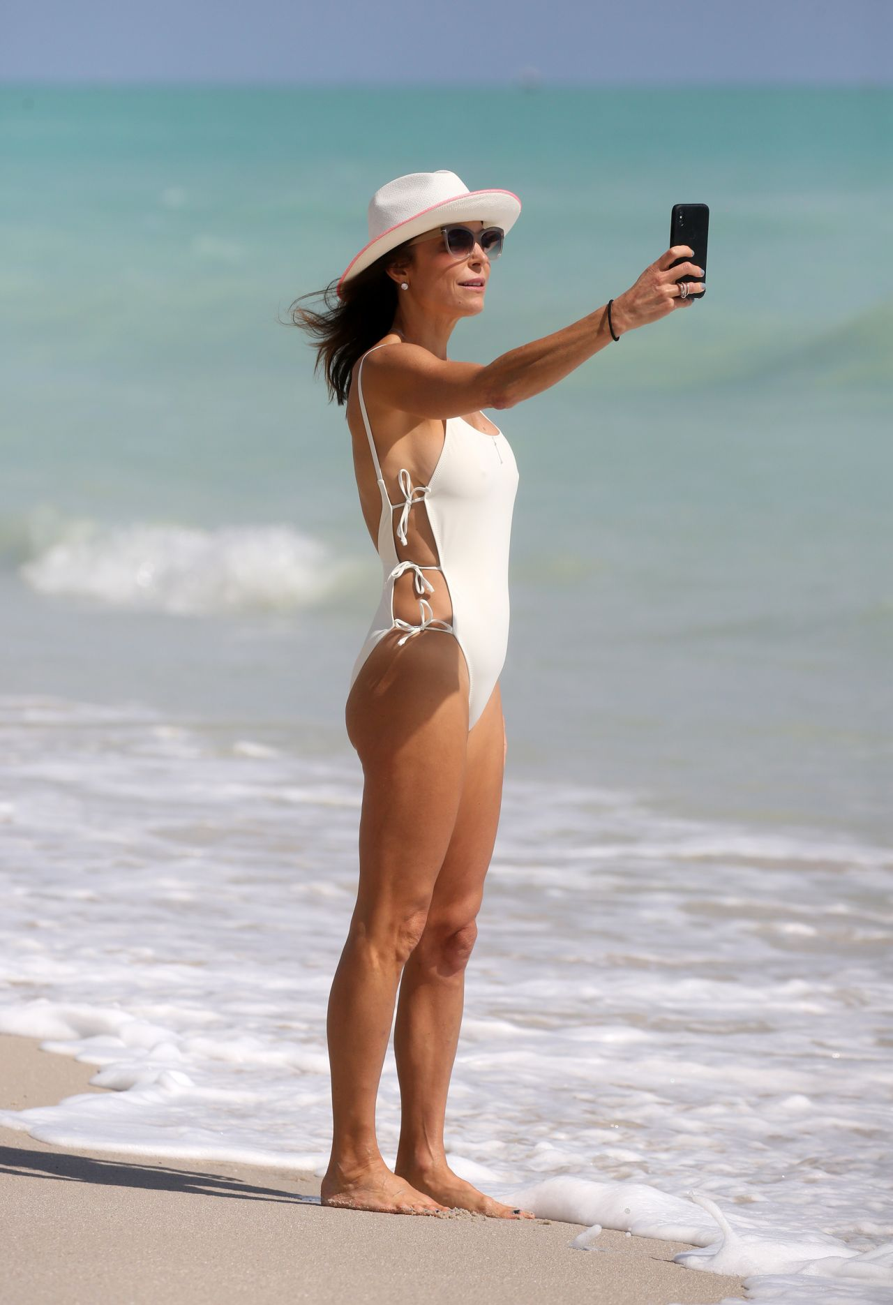 43aeae9037a Bethenny Frankel in a White Swimsuit on Miami Beach