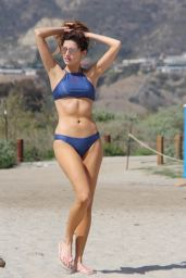 Blanca Blanco in a Blue Bikini - Walk Along the Beach in Malibu 03/13/2018