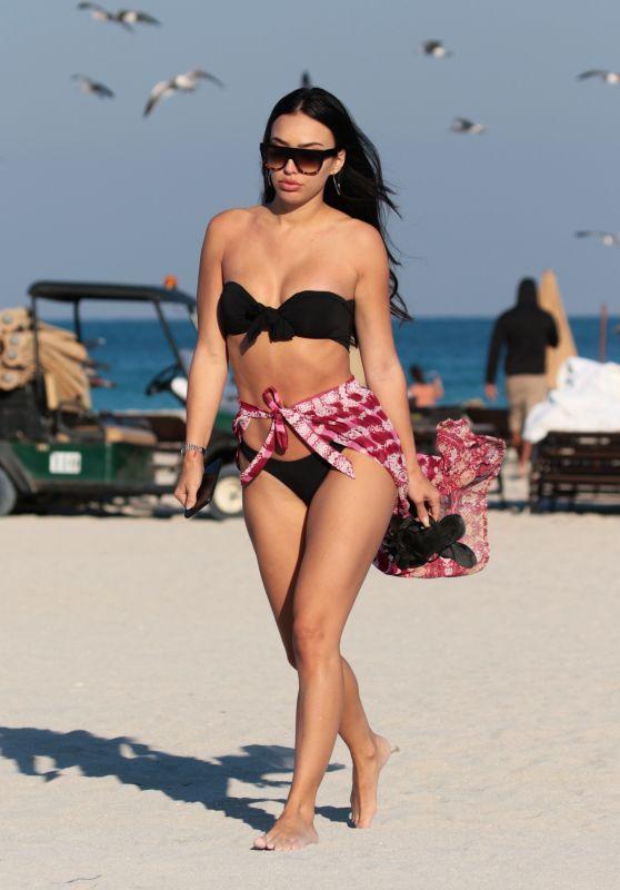 Bre Manziel (Tiesi) in a Black Bikini at the Beach in Miami