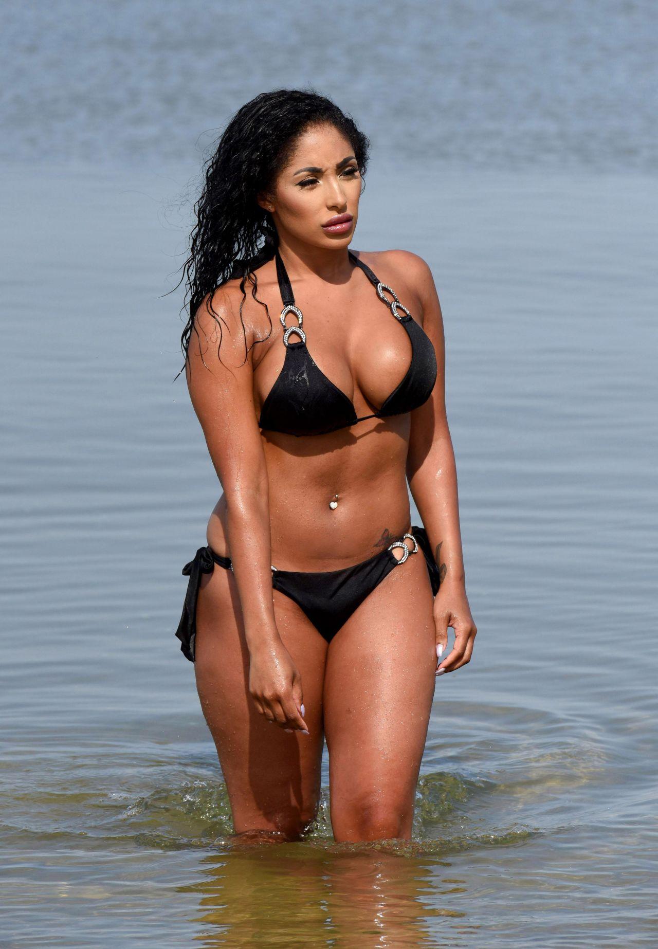 Chanelle Sadie Paul in Black Bikini on the beach in Murcia Pic 1 of 35