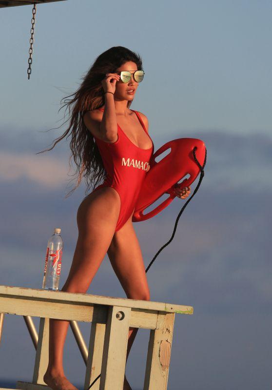 CJ Franco in a Red Bikini - BayWatch Themed Photo Shoot for 138 Water in Malibu