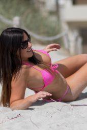 Claudia Romani Celebrating Easter in Bikini on South Beach 03/29/2018