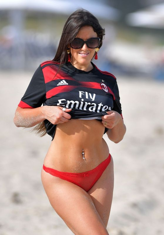 Claudia Romani Wearing Real Madrid Football Club Jersey - Beach in Miami 03/12/2018