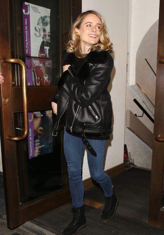 Cressida Bonas - Leaving the Jermyn Street Theatre in London