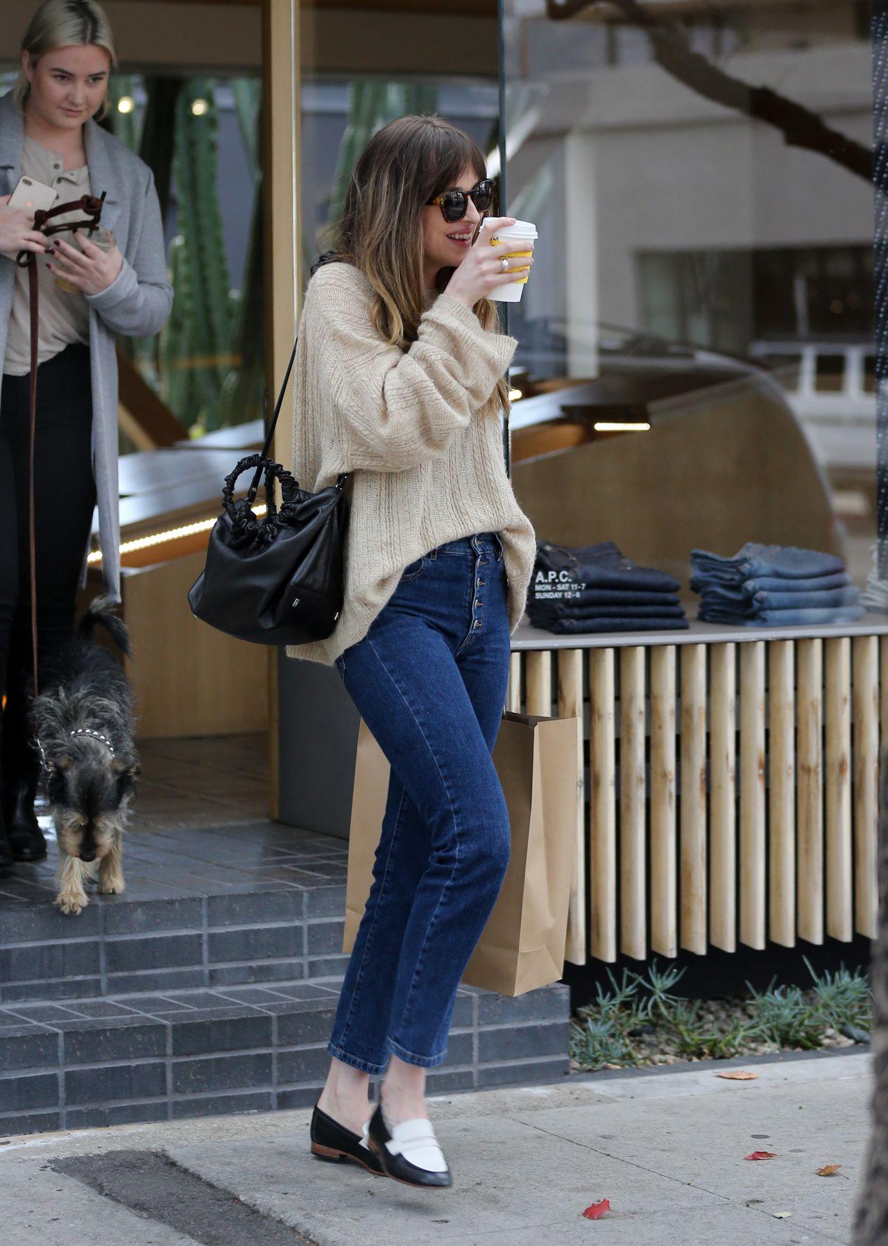 Dakota Johnson Shopping And Drinking Coffee In La 03 01 2018