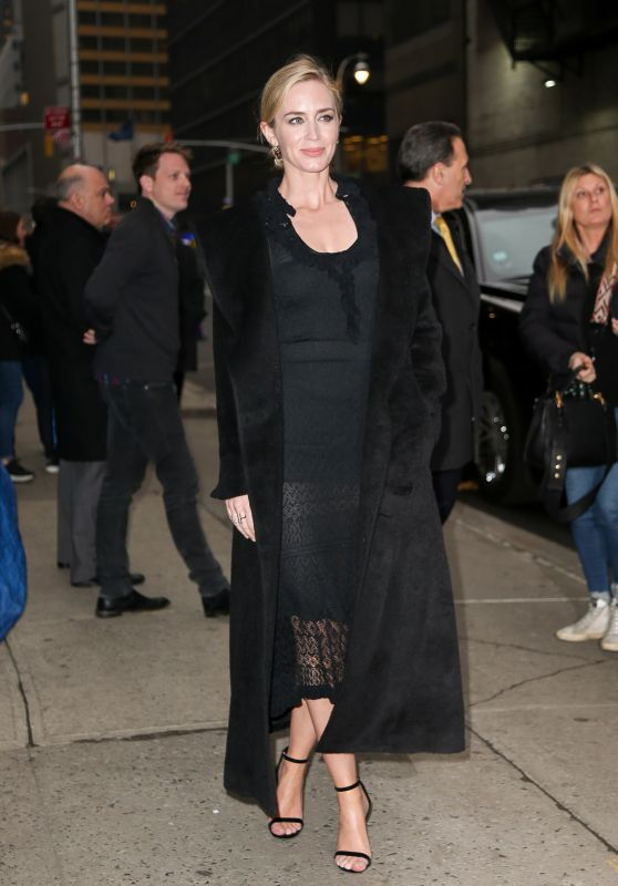 Emily Blunt - Outside The Late Show with Stephen Colbert in NYC 03/29/2018