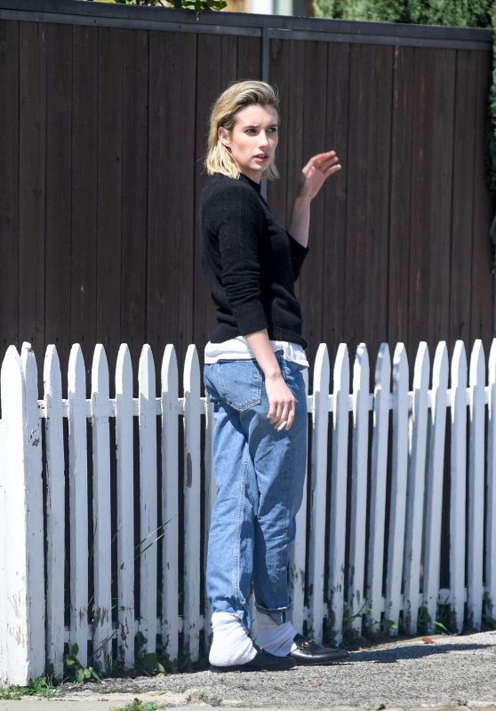 Emma Roberts in a Jeans and Black Sweater - Los Angeles 03/14/2018