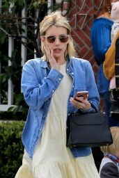 Emma Roberts in Sundress With a Denim Jacket - Out in Beverly Hills 03/17/2018