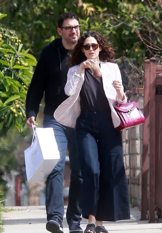 Emmy Rossum and Sam Esmail - Hading to a Birthday Party in LA