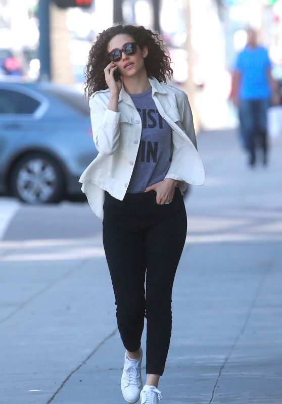 Emmy Rossum in White Shirt and Black Pants - Beverly Hills
