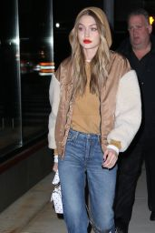 Gigi Hadid in a Bomber Jacket, Cropped Jeans and Leopard Print Booties - NYC 03/19/2018