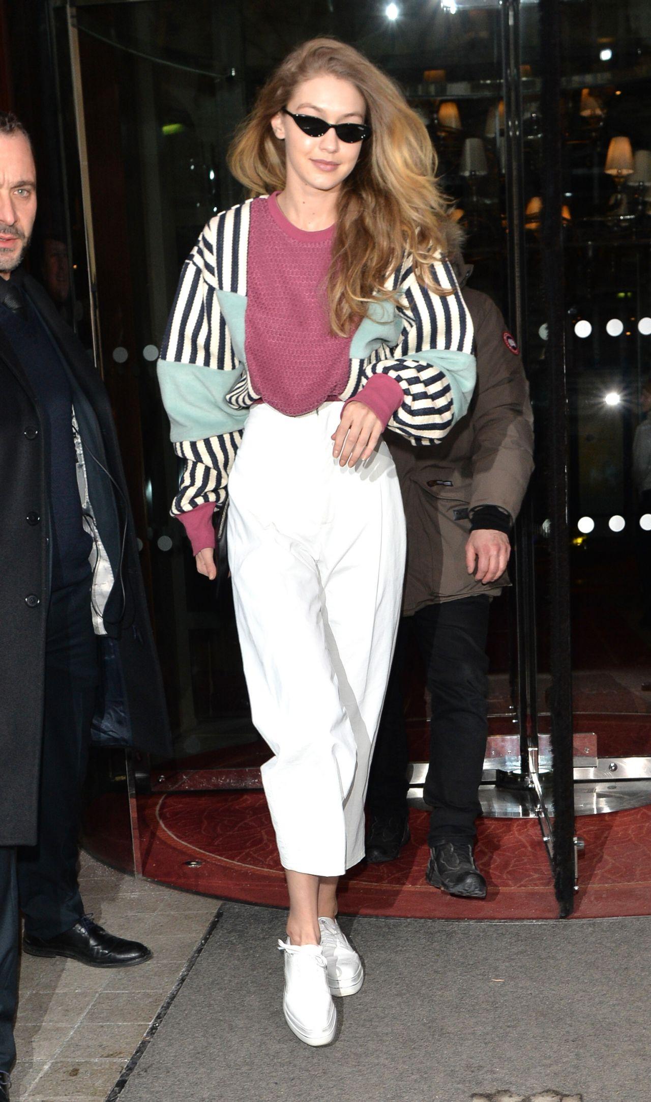 Gigi Hadid in Casual Outfit \u2013 Paris 03/01/2018