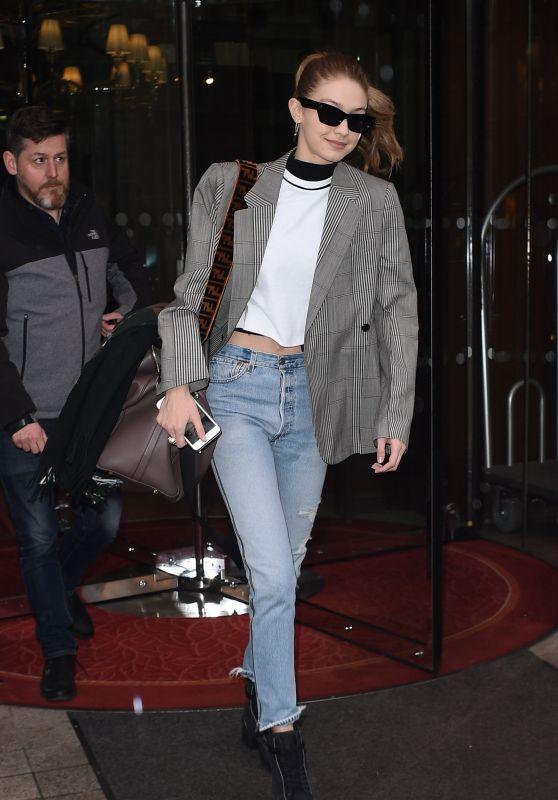 Gigi Hadid - Leaving the Royal Monceau Hotel in Paris 03/04/2018