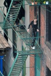 Gigi Hadid - Photoshoot on a Fire Escape in Brooklyn
