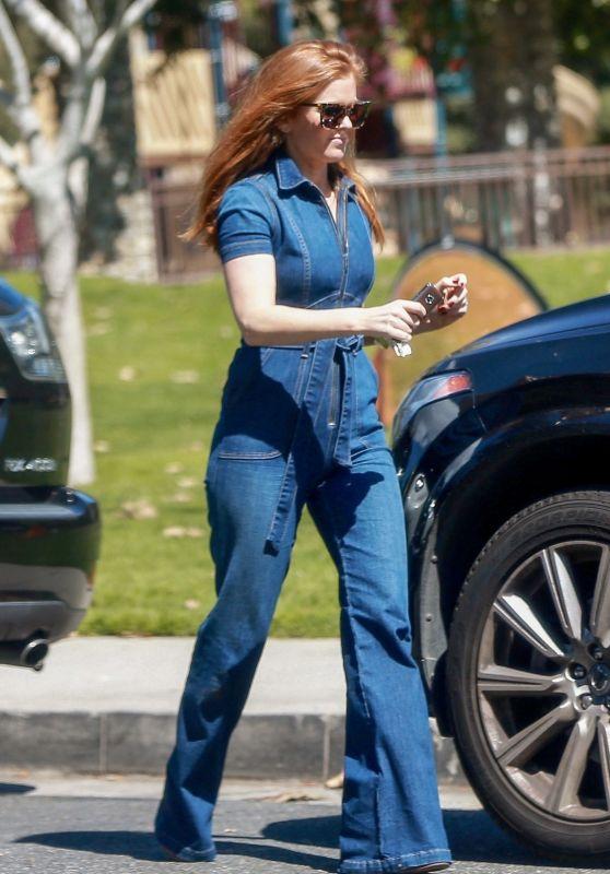 Isla Fisher Wears Denim Jumpsuit - Shopping in Beverly Hills 03/15/2018