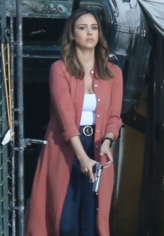 Jessica Alba - Filming the Untitled Bad Boys Spinoff Pilot in Los Angeles 03/23/2018