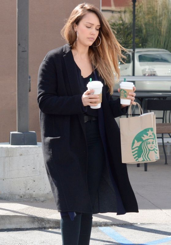 Jessica Alba - Stops by Starbucks in Culver City 02/27/2018