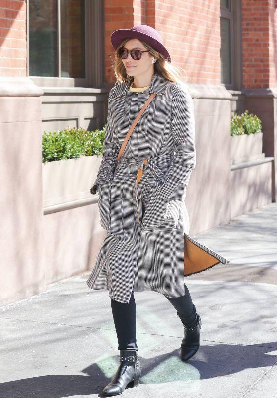 Jessica Biel in a Plaid Coat - New York City 03/22/2018