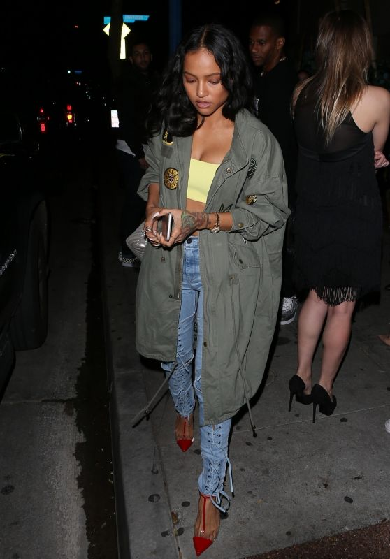 Karrueche Tran and Victor Cruz Night Out at Delilah in West Hollywood 03/23/2018