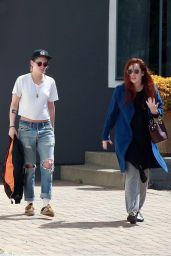 Kristen Stewart in Ripped Jeans and Black Hat - Leaving Spa in Los Angeles 03/19/2018